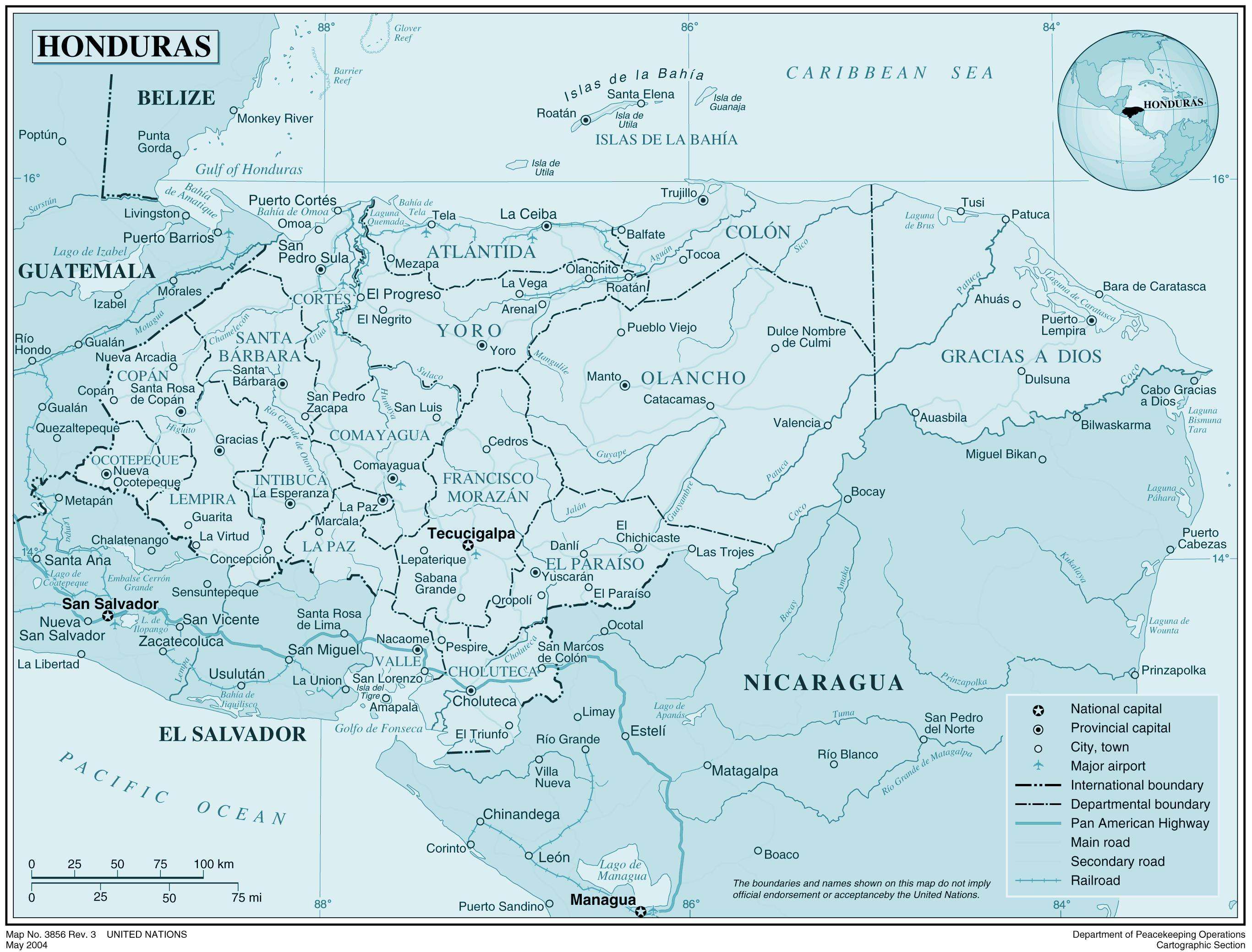 Cartina Fisica Dell America Centrale.Mappa Fisica Di Honduras Mappa Della Mappa Fisica Dell
